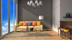 Innenraum des Dachbodens des modernen Designs mit Lampe, Sofa und Stange 3D I Lizenzfreie Stockfotos