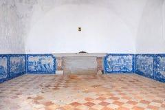 Innenraum des Ermida DA Memoria (Gedächtnis-Einsiedlerei) des Nossa Senhora tut Cabo-Schongebiet Stockfoto