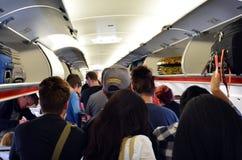 Innenraum des Flugzeuges Stockfotos
