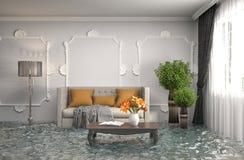 3d Fußboden Wasser ~ Innenraum des hauses überschwemmt mit wasser abbildung d stock