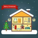 Innenraum des Hauses, Weihnachtsbaum Flache Illustration des Vektors Stockfotos