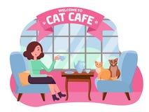 Innenraum des Katzencafés mit großem Fenster, Frau und zwei Miezekatzen in den bequemen Lehnsesseln Mädchen-und Katze Teeparty Au stock abbildung