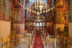 Innenraum des Klosters von Panagia Kalyviani auf Kreta, Griechenland Stockfotografie