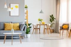 Innenraum des Lebenund Esszimmers des offenen Raumes mit grauem Sofa, woode stockbilder