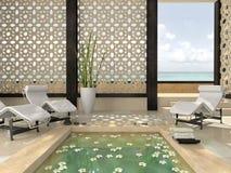 Innenraum des modernen Badekurortes Stockbilder