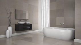 Innenraum des modernen Badezimmers mit Granit deckt Wand mit Ziegeln stock abbildung