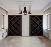 Innenraum des modernen leeren Raumes mit Wandschrank und Fenstern lizenzfreie stockfotografie