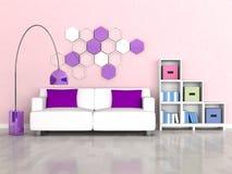 Innenraum des modernen Raumes, rosafarbene Wand, weißes Sofa vektor abbildung
