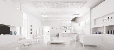 Innenraum des modernen weißen Wohnungspanoramas Stockfoto