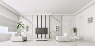 Innenraum des modernen Wohnzimmers 3d Stockfotografie