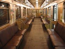 Innenraum des Moskau-Untergrundbahnautos Stockbild