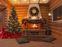 Innenraum des neuen Jahres der Illustration 3D mit Weihnachtsbaum, Geschenke Lizenzfreie Stockfotografie