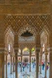 Innenraum des Palastes der Löwen, Alhambra, Granada lizenzfreie stockfotos