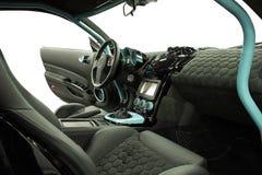 Innenraum des Sportwagens auf einem weißen Hintergrund Lizenzfreie Stockbilder