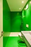 Innen-, grünes Badezimmer Stockfotos