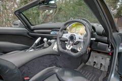 Innenraum des TVR-Sportautos Stockfotografie