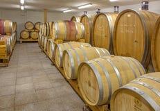 Innenraum des Weinkellers des großen slowakischen Produzenten. Fässer Lizenzfreie Stockfotos