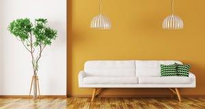 Innenraum des Wohnzimmers mit Sofa 3d überträgt Lizenzfreie Stockfotografie