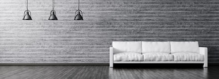 Innenraum des Wohnzimmers mit Sofa- und Lampenpanorama Lizenzfreie Stockfotos