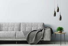 Innenraum des Wohnzimmers mit Wiedergabe des Sofas 3d stockbilder