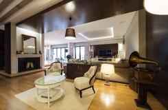 Innenraum Einer Luxuswohnung Mit Kamin Stockfoto