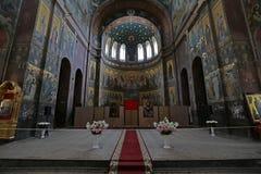 Innenraum einer orthodoxen Kirche Stockbilder