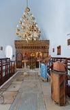 Innenraum einer orthodoxen Kirche in Naoussa, Paros, Griechenland Lizenzfreie Stockfotos