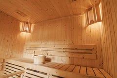 Innenraum einer privaten Sauna Lizenzfreie Stockfotos