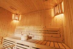 Innenraum einer privaten Sauna Lizenzfreies Stockfoto