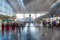 Innenraum eines Flughafenabfertigungsgebäudes, Benito Juarez Lizenzfreie Stockfotos
