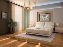 Innenraum eines Schlafzimmers Stockfotografie