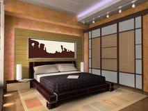 Innenraum eines Schlafzimmers Stockbild