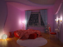 Innenraum eines Schlafzimmers für das Mädchen Stockfotografie