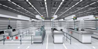 Innenraum eines Supermarktes mit leeren Regalen lizenzfreie stockfotografie