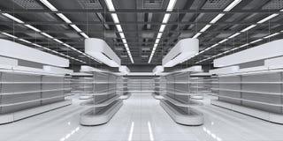 Innenraum eines Supermarktes mit leeren Regalen stockfotografie