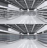 Innenraum eines Supermarktes mit leeren Regalen und mit Waren lizenzfreies stockfoto