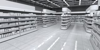 Innenraum eines Supermarktes mit Waren lizenzfreie stockfotografie