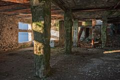 Innenraum eines verlassenen Gebäudes Stockfotografie