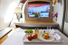 Innenraum Emirat-Airbusses A380 Lizenzfreie Stockfotos