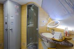 Innenraum Emirat-Airbusses A380 Stockbild