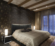 Innenraum für ein Schlafzimmer, ein Bett Lizenzfreies Stockbild