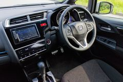 Innenraum Hondas Jazz Fit 2014 Lizenzfreies Stockbild