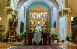 Innenraum, Kathedralen-Basilika von St Francis von Assisi Stockbilder