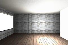 Innenraum mit bloßer Betonmauer und Holzfußboden lizenzfreie abbildung