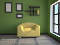 Innenraum mit einem gelben Lehnsessel Stockfotografie