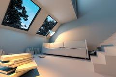 Innenraum mit grünem Sofa und Büchern Lizenzfreie Stockfotografie