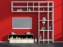 Innenraum mit Kamin, Vase und Fernsehen Stockfotografie