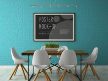 Innenraum mit Plakatspott herauf Wiedergabe 3D Stockfotos