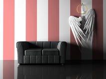 Innenraum mit schwarzen Sofa- und Paarflügeln Lizenzfreies Stockfoto