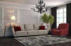 Innenraum mit Sofa Abbildung 3D Lizenzfreie Stockfotografie